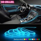 5M Flexible Neon Light Glow EL Wire Rope Cable Xmas Strip +Battery Conctoller US