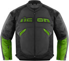 Icon Sanctuary green leather textile armored motorcycle r...
