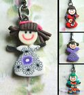 GIRL CHARM KEYRING FIMO POLYMER CLAY BRIGHT FLOWER FLORAL CUTE KITSCH KAWAII