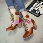 New Color Stitching Motorcycle Lace Up Ankle Boots Womens Mid Block Heel Shoes