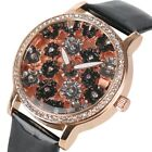 Trendy Women Rhinestones Wrist Watch Quartz Elegant Liades Leather+Barcelet Gift