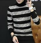Men's Sweater High collar Knitwear Slim Fit Striped Knitted Pullover Jumper Tops