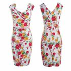New Vintage Style Floral Print Office Lady Bodycon Slim Business Pencil Dress