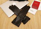 women mid long upper top buttons real top sheep leather gloves black