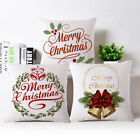 18 Inch Merry Christmas Letter Throw Pillow Case Linen Cushion Cover Pleasing