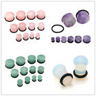 Pair Natural Stones Ear Plugs Flesh Tunnels Expander Stretcher Piercing 6mm-16mm