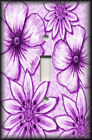 Metal Light Switch Plate Cover - Big Flowers Leaves Floral Decor Plum Purple