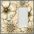 Metal Light Switch Plate Cover - Big Flowers Leaves Floral Decor Tan Cream