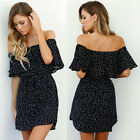 New Arrival UK Sexy Ladies Off Shoulder Dots Mini Dress Party Dresses Sundress