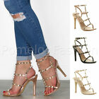 WOMENS LADIES HIGH HEEL T-BAR STUDDED PEEP TOE CAGED STRAPPY SANDALS SHOES SIZE