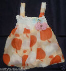 Girls Floaty Orange Apple Chiffon Party Top With Brooch 3-4 4-5 5-6 Years BNWT