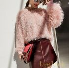 Womens Tassel Loose Pullover Tops Long Sleeve Casual Autumn Sweater Pink White