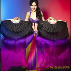 Sale 1 pair belly dance performance real silk fan veils 5ft long left right hand