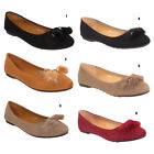 Ladies Womens Ballerina Pumps Bow Loafers Furry Smart Ballet Dolly Shoes Size