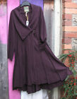 BOHEMIA SWEDEN LONG AUBERGINE BOILED WOOL FITTED PANELLED ASYMMETRIC HEM COAT