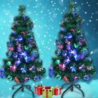 '6ft/7ft Pre Lit Christmas Tree Lights Fibre Optic Multicolour Xmas Decoration Uk