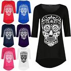 Womens 3/4 Sleeves Skull Printed Dipped Hem Ladies High Low Tunic Top Plus Size