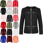 New Women Ladies Front 4 Pockets Long Sleeve Tailored Collared Jacket Blazer Top