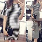 New Fashion Women Casual O-Neck Flare Sleeve Striped A-Line Loose Dress K0E1