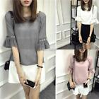 Women Casual O-Neck Trumpet Half Sleeve Solid Hollow Out T-Shirt K0E1