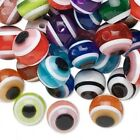 Lucky EVIL EYE Round BEADS ~ Sturdy Plastic RESIN ~ 10mm 12mm  Mixed COLORS