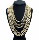 "Cuban link Chain 14k Gold Plated 5mm 6mm 7mm 10mm 12mm wide 20"" 24"" 30"" Length"