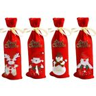 Christmas Red Wine Bottle Cover Bags Snowman/Santa Claus Decoration Sequins Gift