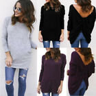 New UK Womens Long Sleeve Backless Crew Neck Shirt Casual Tops Winter Blouse