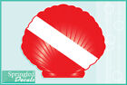 SCALLOP SHELL Shaped DIVE Flag Vinyl Decal Car Truck Sticker SCUBA Diving Decal