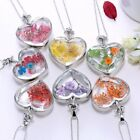 Natural Dried Flower Silver Heart Glass Locket Pendant Necklace Long Chain Gift