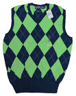 $185 Polo Ralph Lauren Mens Navy Green V Neck Argyle Golf Sweater Vest S M L