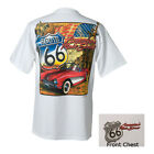 CORVETTE ROUTE 66 T-SHIRT -  Official USA Licensed M L XL weiß C1 Chevrolet