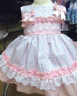 DREAM GIRLS SUMMER 2017 MULTI SPOT PINK  SPANISH LINED DRESS 0- 7  YEARS  REBORN