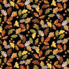 Benartex Kanvas Leaf into Autumn 8319 12 Black Leaves BTY Cotton Fabric