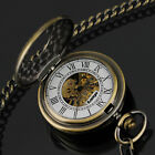 PACIFISTOR Mechanical Skeleton Pocket Watch Classic Steampunk Vintage Pendant US