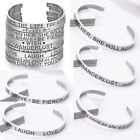 Engraved Stainless Steel Love Wish Letters Cuff Bracelet Bangle Family Jewelry
