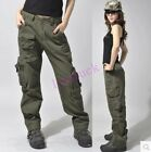 New Womens Outdoor Pants Military Army Green Cargo Pocket loose Leisure Trousers