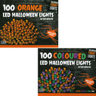 100x Spooky Coloured LED Halloween Indoor Decor Fright String Lights Battery 7m