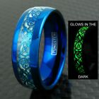8mm Blue Tungsten Men's Ring Celtic Dragon *Glow* Wedding Band
