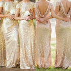 Womens Ball Gown Prom Party Dress Ladies Sequin Bridesmaid Long Dress Plus Size