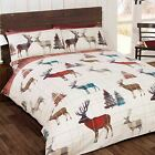 WOODLAND STAG TARTAN DOUBLE DUVET COVER SET CHRISTMAS BEDDING RED PINE TREES NEW