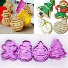 4Pcs/set Christmas Cookie Biscuit Plunger Cutter Mould Fondant Cake Mold Tools