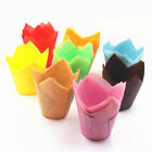 50PCS Home Wrapper Liners Muffin Tulip Case Cake Paper Baking Colorful Cup Hot