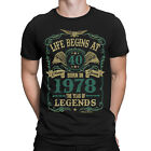 Life Begins At 40 Mens T-Shirt BORN In 1978 Year of Legends 40th Birthday Gift