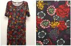 LULAROE Size M JULIA Purple Wine Pink Mustard Big Flowers Floral Dress NEW