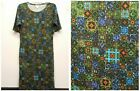 LULAROE Size M JULIA Green Blue Aqua Orange Stained Glass Mossaic Dress NEW