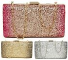 LADIES PROM CLUTCH BAG TWO TONE GLITTER BRIDAL SMALL HARDCASE EVENING PARTY BAG