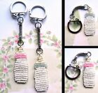 CUTE BEADED BABY BOTTLE CHARM KEYRING PINK BLUE BOY GIRL MILK