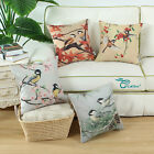 "Square Pillow Throw Cushion Cover Titmouse Chickadees Leaves Pine Tree 18""X18"""