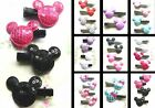 MINNIE OR MICKEY MOUSE HEAD HAIR GRIPS CLIPS MINNIE FABRIC SEQUIN IN PAIRS